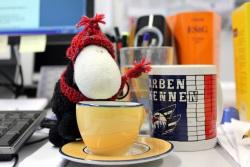 Sören mit Kaffeetasse und Gesetzeskommentar im Hintergrund bei der Recherche für das Thema